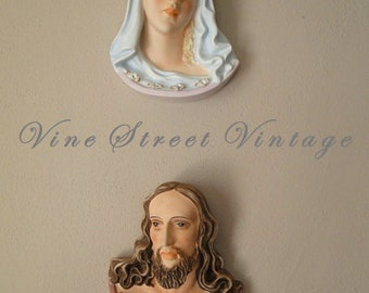 Vintage Lefton 1956 Jesus and Mary Porcelain Wall Plaques