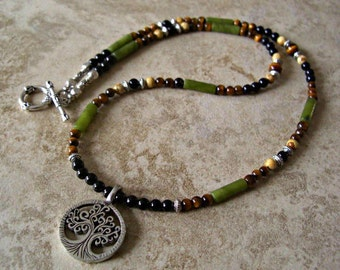 Tree of Life Pewter Pendant, Black Onyx,Tiger Eye, Moss Agate, Picture Jasper,Silver Accents Men's Necklace,Men's gift,  Gift for him