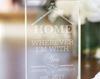 Engraved Home is Wherever I'm With You Acrylic Keepsake, couple gift, personalized keepsake, customized keepsake, girlfriend gift -gfy399694