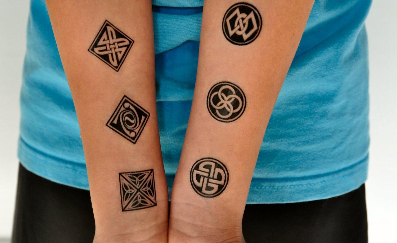 Ornamental Pattern Temporary Tattoo Set Of 6 Symbols