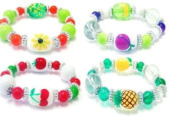 Hand Painted Farm Flowers & Fruits Glass Beads Kid's Stretch Bracelet__4 Pcs Set