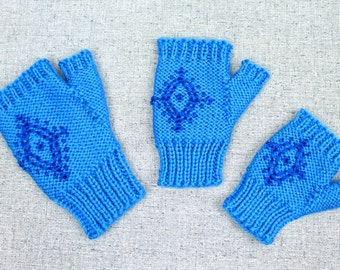 Knitting Pattern: Anna's Fingerless Mittens, Blue Snowflake Costume Gloves inspired by Disney's Frozen
