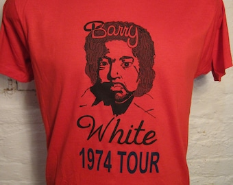 Size L (44) ** Old Stock Dated 1974 Barry White Shirt (Deadstock Unworn Mint) (Single Sided) (Screen Stars)