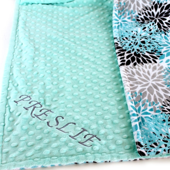 Teal Personalized Blanket, 48 x 60 Girl Toddler Blanket, Minky Blanket, Gray Floral Blanket, Flower Blanket, Kids minky Blanket, Minky Throw