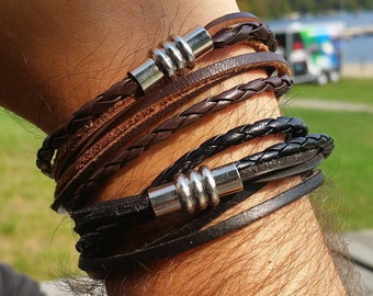 Men Leather Bracelet, Men Bracelet, Leather Bracelet, Wrap Leather Bracelet, Bracelet for Men, Multi-Layer Men Bracelet, Mens Bracelets