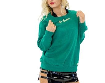 "Vintage ""BE BADASS"" Cross Stitch Embroidered Sweatshirt Sustainable Upcycled Fashion"