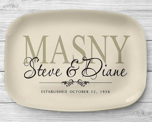 personalized serving tray ivory family name platter