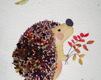 Hedgehog original watercolor, leaves, red and brown, children's art, nursery art, autumn, Fall, woodland, matted, whimsical, round hedgehog