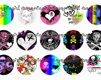 INSTANT DOWNLOAD...Girly Skulls 1 Inch Circle Image Collage for Bottle Caps...Buy 3 get 1