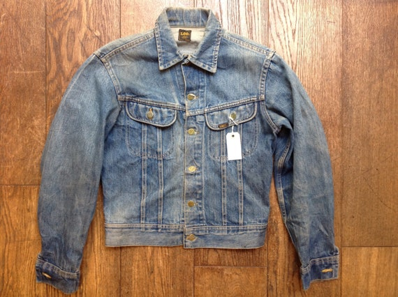 "Vintage 1980s 80s Lee 101 blue denim jacket trucker workwear 39"" chest"