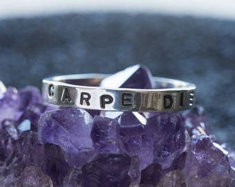 Personalised Stacking Rings - Customisable Stamped Message Sentimental Boho
