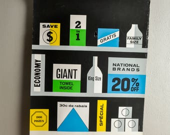 Vintage Screen Print Poster Woodcut Shelf of Products