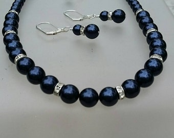 Swarovski Night Blue Necklace and Earring Set