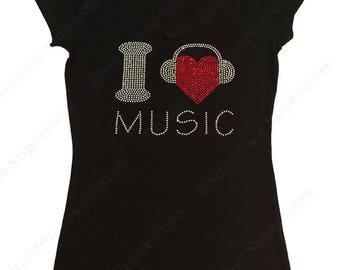 "Women's Rhinestone T-Shirt "" I Love Music with Headphones "" in S, M, L, 1x, 2x, 3x"