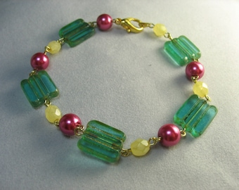 green pink yellow glass bead bracelet ... beautifully bright bracelet with glass pearls and picasso beads