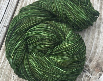 hand dyed sock weight yarn Land Ho Shawl Length Super Skein Superwash Merino Cashmere MCN 600 yard fingering weight forest green grass olive
