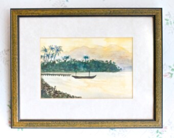 Boat in the Bay - Watercolor Painting - Vintage Wall Hanging Picture Frame - Nautical Home decor