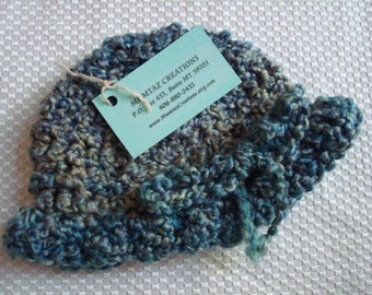 Crocheted Baby Girls Bonnet Hat with Adjustable Bow Tie - Blue Green 286