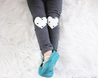 White & Black Heart Knees Gray Pants Leggings