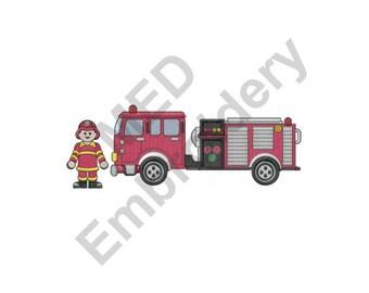Fireman & Firetruck - Machine Embroidery Design, Firefighter