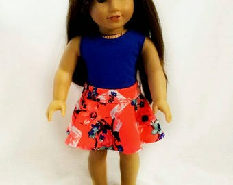 18 inch skater skirt/ orange doll clothes/ blue sleeveless tshirt/ American made/ girl doll clothes/ trendy summer clothes/ 18 inch doll