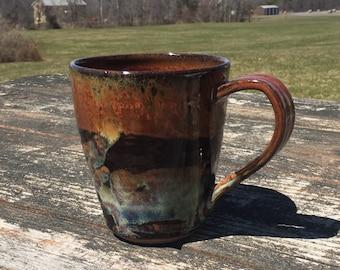 Large pottery mug red blue brown mug