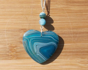 Blue Striped Agate Heart, Blue Striped Agate Necklace,