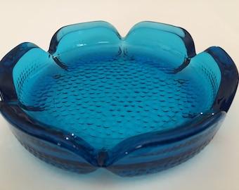 Vintage Sapphire Blue Viking Art Glass Ashtray