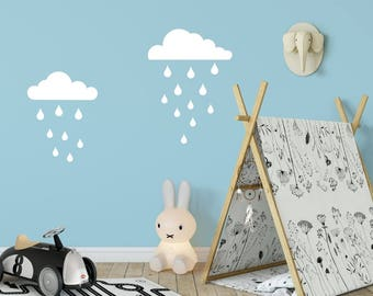 Rain Clouds Wall Decal - Cloud Decal - Rain Drop Decal - Kid Wall Decor - Baby Room Decal - Nursery Wall Decal - Vinyl Sticker - Rain Cloud
