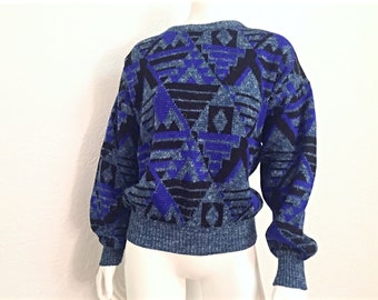 Vintage Sweater / Ugly Sweater / 1980s Sweater / 80s Sweater / Retro Sweater / Baggy Sweater / Crewneck / Small Sweater / Small Sweater