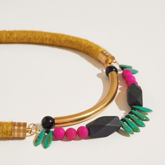Symmetrical Statement Necklace in Marigold