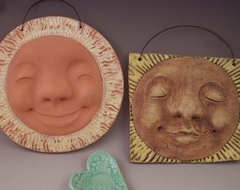 Happy Pottery Sun Face Tile, Hand-Sculpted Happy Ceramic Sun, One-of-a-Kind Cheerful Sun Wall Tile, Original Design