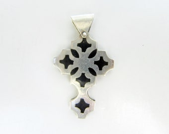 Sterling Silver and Black Enamel Accent Modernist Cross Pendant - 2653