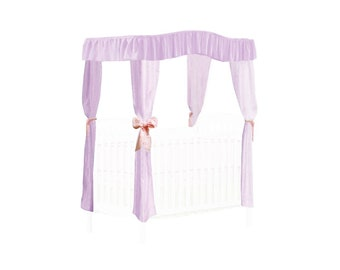CRIB SIZE Solid Lavender Canopy Bed Fabric Top with  Princess Drapes and Light Pink Ribbon Ties