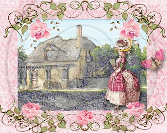 Marie Antoinette's Queen's Hamlet French Digital Instant Download for ACEO, ATC, Scrapbooking, Greeting Cards