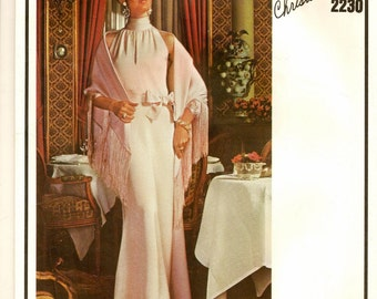 """A Christian Dior Draped Standing Collar, Sleeveless Evening/Cocktail Dress and Stole Pattern for Women: Size 10, Bust 32-1/2"""" • Vogue 2230"""