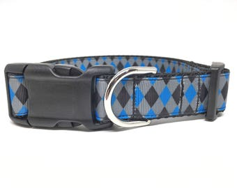 "Checker Dog Collar - Blue and Black Checker Dog Collar - 1"" wide Adjustable"
