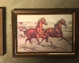 Racing Horses 2 pictures in Frames Vintage