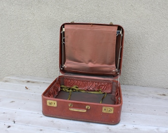 Vintage Hard Suitcase Oxblood Vegan Sears Roebuck Large Distressed Travel Photo Stage Prop Hangers