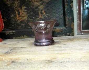 etched glass lantern, purple/tea light burner/Vintage/ glassware/British