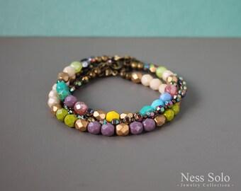 Colorful boho bracelet set Boho jewelry Stackable bracelets Boho beaded bracelet Multicolor bracelet Multistrand bracelet Bohemian jewelry