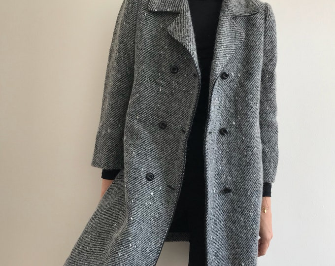 80's Vintage Pepper and Salt Wool Coat