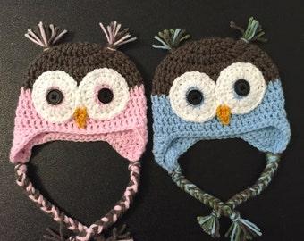 Owl Hats, Twin Owl Hats, Crochet Owl Hat, hats for Twins, Newborn Twin Owl Hat, gift for twins, twins