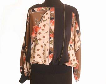 Vintage 1980s Art Deco Batwing Blouse size M