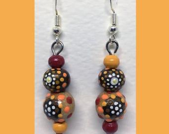 Rondouille Art brown/red earrings