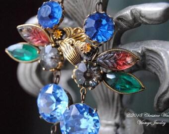 Ear Candy--Vintage Cobalt Rhinestone Carved Glass Leaf Prong Set Vintage Blue Stone Faceted Pink Glass Briollette EARRINGS