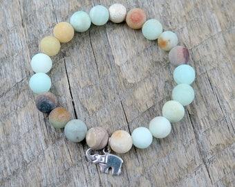 Elephant Bracelet, Amazonite Beaded Bracelet, Amazonite Bracelet, Stretch Bracelet, Elephant Jewelry