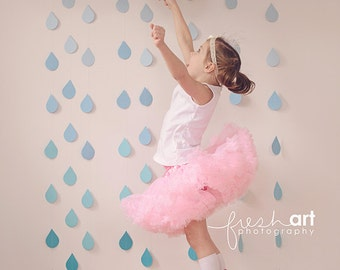White Tissue Paper Pom Poms and Blue Ombre Rain Drop Garland