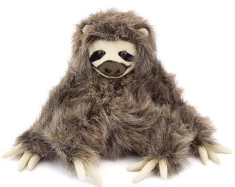 "9.5"" Three Toed Sloth Sitting Plush Stuffed Animal Toy by Fiesta Toys"