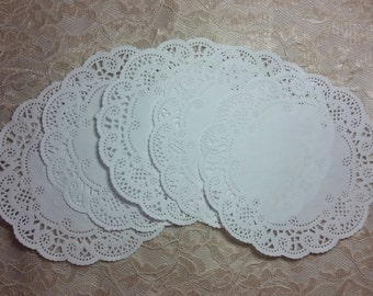 "6"" White French lace paper doilies"